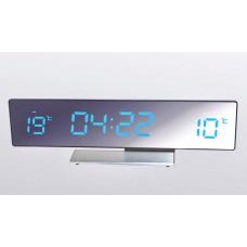 Настольные часы-метеостанция BVItech BV-43BMx (синие цифры) зеркальная панель