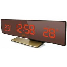 Настольные часы-метеостанция BVItech BV-43BrY (красные цифры) зеркальная панель
