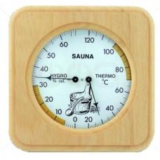 Аналоговый термогигрометр для сауны с деревянной рамой TFA 40.1007