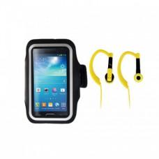 Набор для бега  T'nB SPPACK1: спортивный чехол на руку для смартфона и наушники, цвет черно-желтый